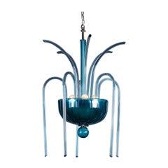 Vintage Italian Venini Blue Glass Fountain Chandelier No. 99.35, circa 1975