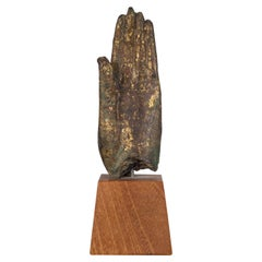 Sukhothai Style Bronze Hand of Buddha Shakyamuni on Wood Base, circa 1800