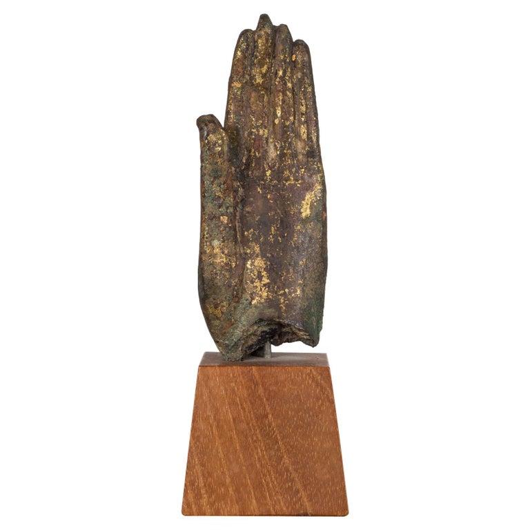 Sukhothai Style Bronze Hand of Buddha Shakyamuni on Wood Base, circa 1800