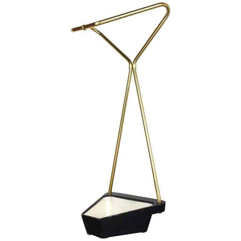 Original Midcentury Metal Brass Modernist Bauhaus Umbrella Stand, Germany, 1950s For Sale