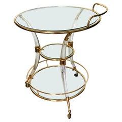 Roméo Rega Lucite and Brass Bar Cart