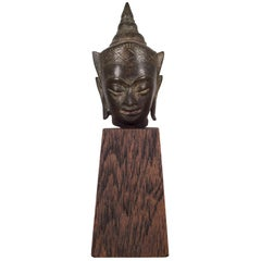 Sukhothai Style Bronze Head of Buddha Shakyamuni on Wood Base, circa 1800