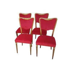 Four Osvaldo Borsani Dining Room Chairs Restored, Red Velvet, Brass Decor