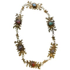 Pal Kepenyes Brutalist Brass Necklace with Semiprecious Stones