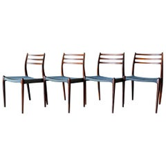 Set of 4 Rosewood Model 78 Dining Chairs by Niels O. Moller, circa 1960