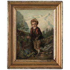 Antique Original Oil Painting of a Young Boy in German Alpine Scene