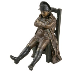 Late 19th Century French Bronze Sculpture of Seated Napoleon in Relaxed Pose