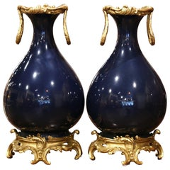 Pair of 19th Century French Louis XV Bronze Doré and Cobalt Blue Porcelain Vases