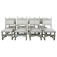 Set of 8 French Painted Dining Chairs, 19th Century