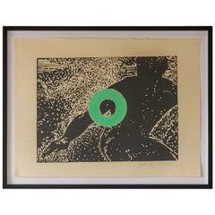 """""""Go"""", Artist Carol Bennett, Original Modern Linocut on Paper, Kaua'i, HI 2004"""