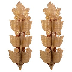 Pair of Palatial Opposing Barovier & Toso Grand Hotel Murano Glass Wall Sconces