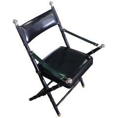 Maison Jansen Leather Side Chair, France, Midcentury