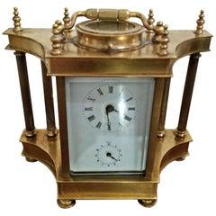 19th Century British Brass Carriage Clock with Roman Columns