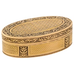 French Empire Oval Gold Snuff Box by H.A. Adam, Paris, circa 1820