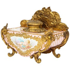 French Gilt-Bronze and Pink Sèvres Porcelain Inkwell & Letter Holder, circa 1880