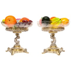 Elkington & Co., a Pair of Gilt and Silvered Bronze Tazza Centerpieces