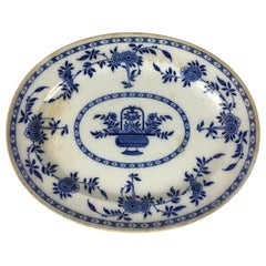 Large Oval Delft Blue and White Floral Platter