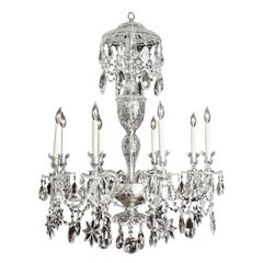 Custom Made Hand Polished Cut Crystal Adam Eight-Light Chandelier in Stock