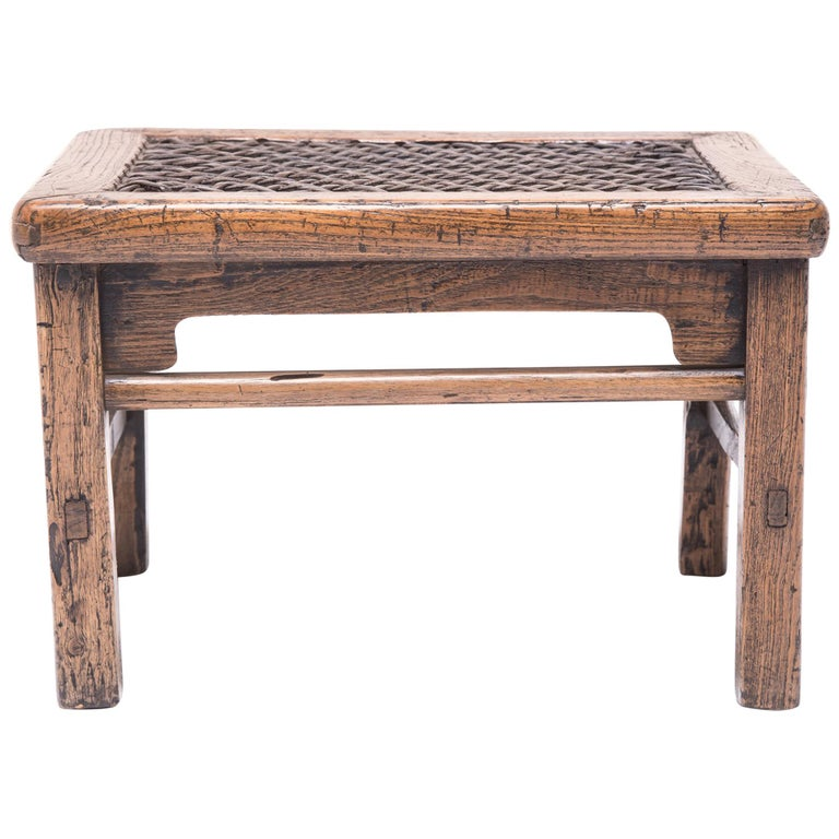 19th Century Chinese Low Stool with Woven Hide Top For Sale