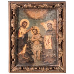 Antique 19th Century Russian Icon, The Baptism of Jesus on Wood Panel