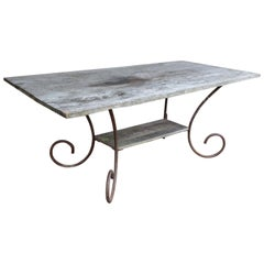 Antique French Wood and Iron Table from a Flower Shop in Paris