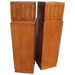 Pair of Art Deco Style Oak Pedestals