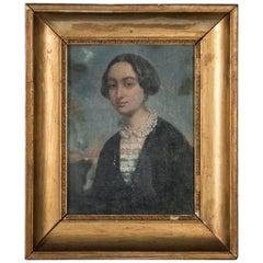 Antique 19th Century Original Oil Painting Portrait of a Lady