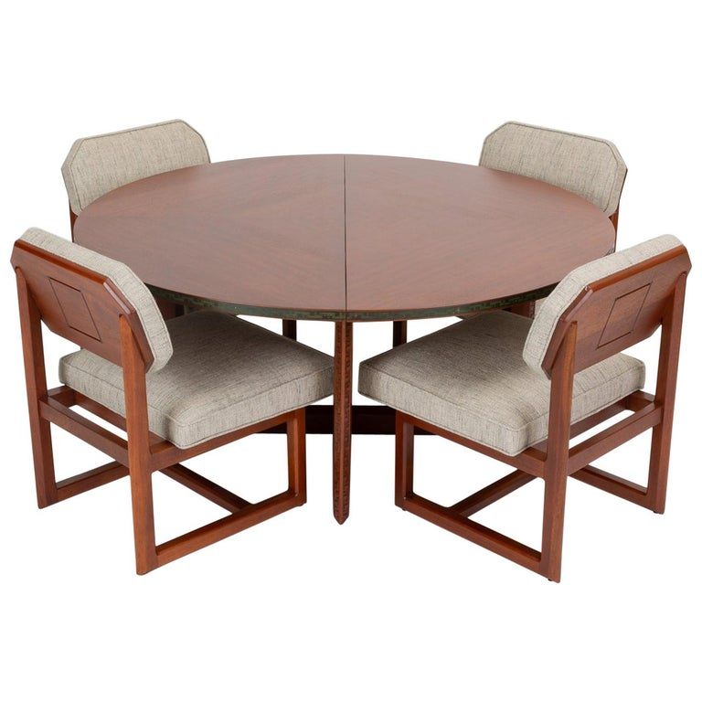 """Frank Lloyd Wright """"Taliesin"""" Game Table with Four Chairs"""