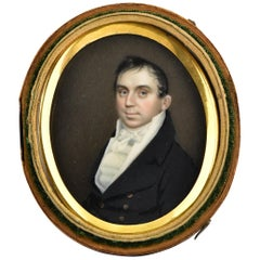 19th Century Miniature Portrait Painting Attributed to Artist Joseph Wood
