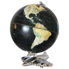 Rare Art Deco Black Oceans Airplane World Globe by Weber Costello