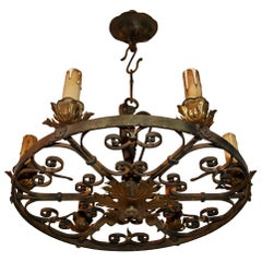 Elegant 1920s Handmade Wrought Iron Chandelier