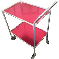 Midcentury English Woodmet Red Bar Cart or Auto Trolley