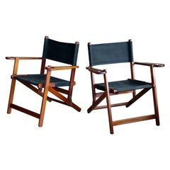Pair of Danish Midcentury Folding Deck Chairs in Solid Teak