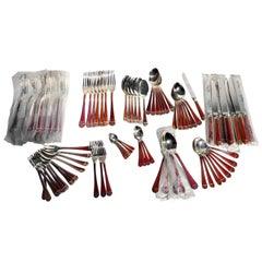 "82 Piece Set of French Christofle ""Talisman Rouge"" Chinese Lacquer Silverware"