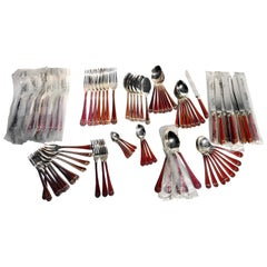 "82-Piece Set of French Christofle ""Talisman Rouge"" Chinese Lacquer Silverware"