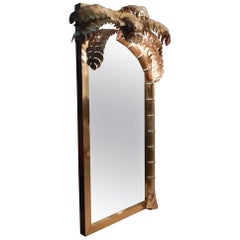 1970 Original Mirror Maison Jansen with Palm Illuminating Single Piece