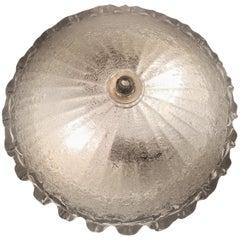 Murano Ice Glass Flush Mount Lamp, Italian