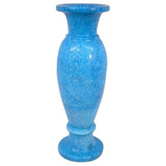 Precious Turquoise Blue Stone Hand-Carved Post Modern Vase, Wide Foot & Lip