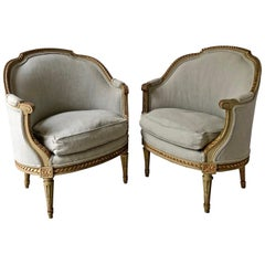 Pair of 19th Century French Louis XVI Style Bergères