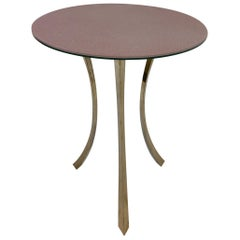 Bronze and Glass Tri-Pod Occasional Table
