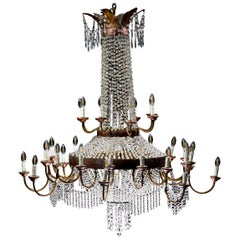 Huge Antique Iron Baroque Style Chandelier with Crystals, Italy, 1910