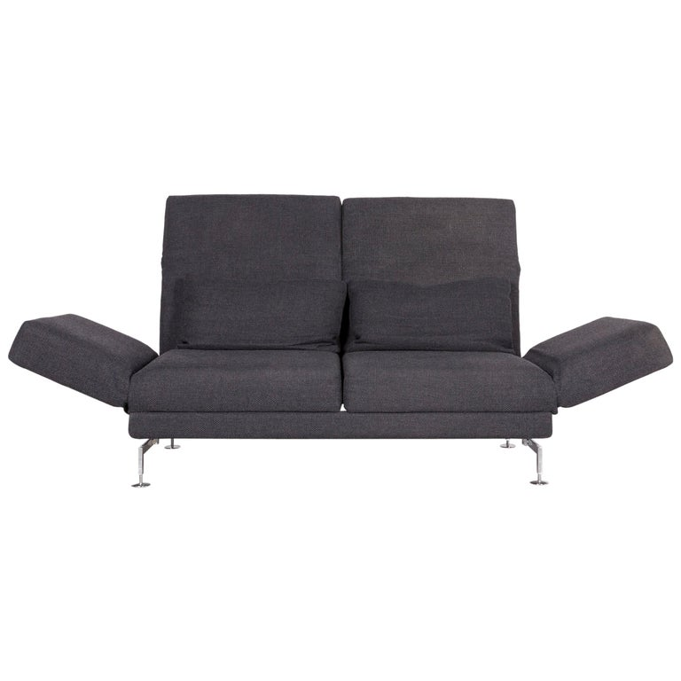 Brühl & Sippold Moule Designer Fabric Sofa Grey Three-Seat Couch with Function