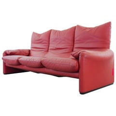 Cassina Maralunga Three-Seat Sofa in Red Leather by Vico Magistretti, 1972