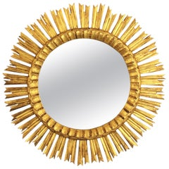 French, 1930s Carved Baroque Style Giltwood Large Sunburst Mirror
