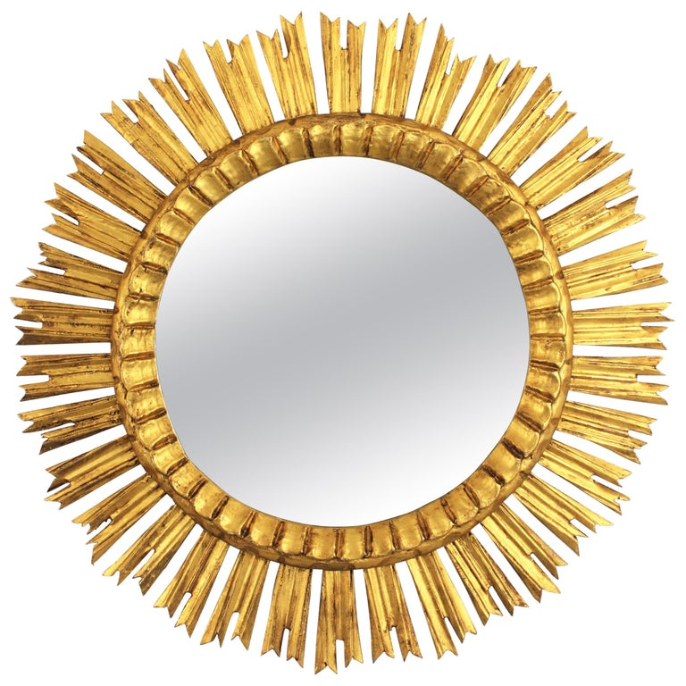 French, 1930s Carved Baroque Style Giltwood Large Sunburst Mirror For Sale