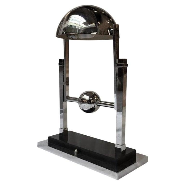 Jacques Adnet Chromed Plated Steel Modernist Lamp, 1930s