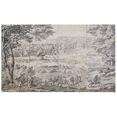 Monumental French Provincial Toile de Jouy Textile Panels