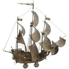 Antique Silver Portuguese Nef Ship