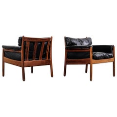 Pair of Gunnar Myrstrand Rosewood Easy Chairs by Källemo, Sweden, 1960s