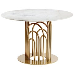 Dinner Table Bara in Marble and Brass